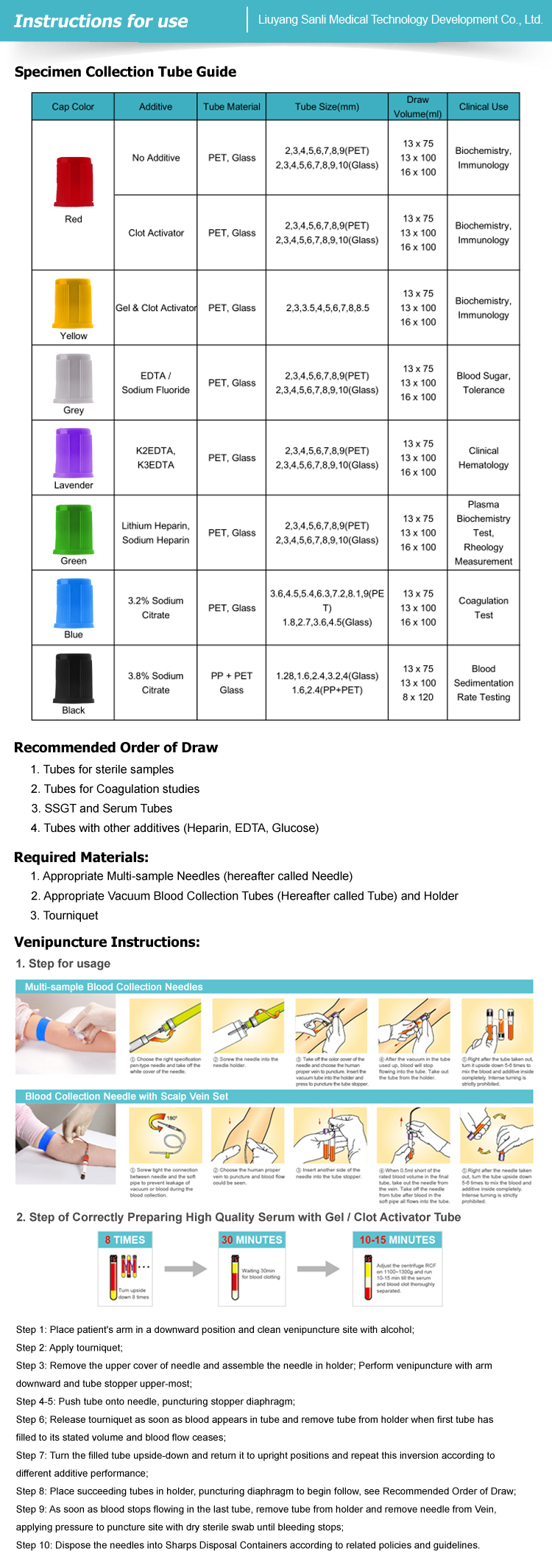 SANLI Blood Collection Tube Guide
